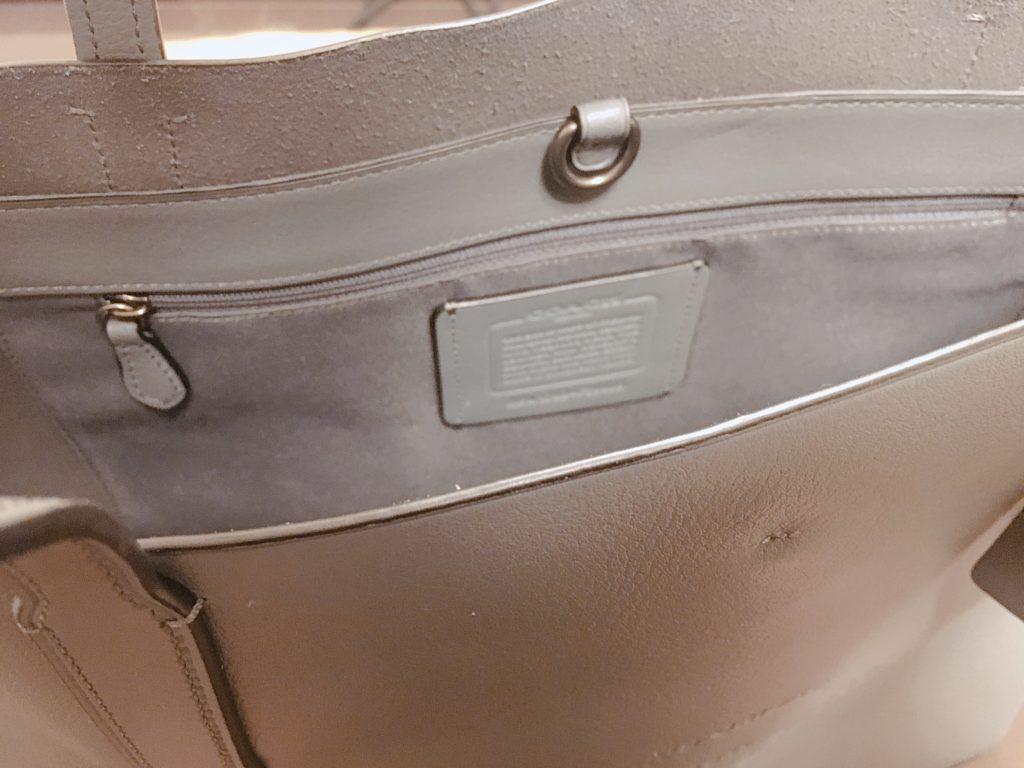 COACHのトートバッグの内側