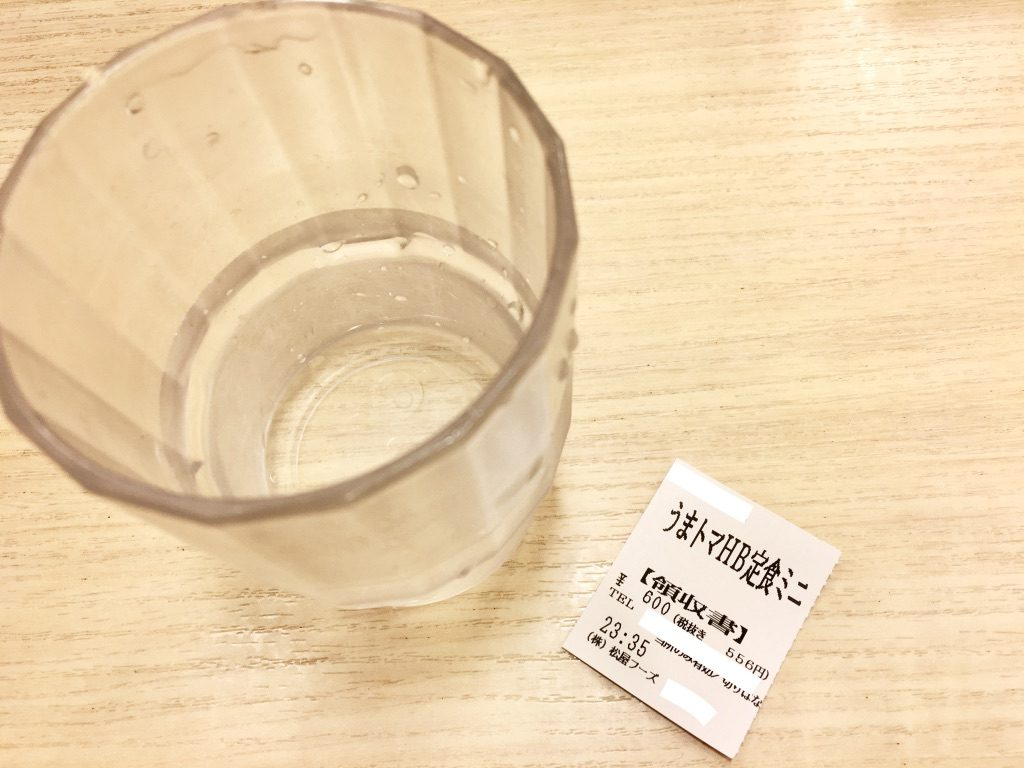 うまトマハンバーグ定食ミニの食券と水