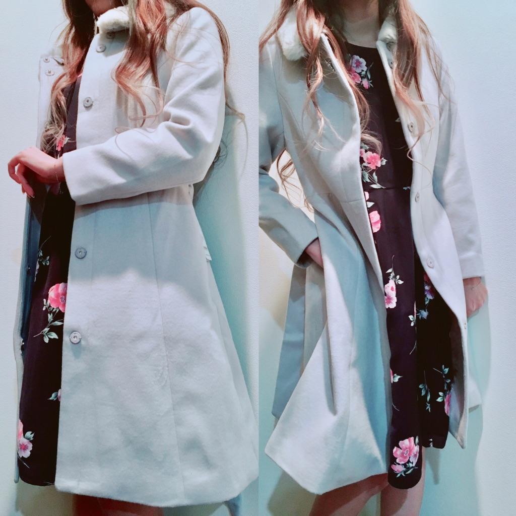 ミッシュマッシュ福袋2019年のコートとワンピを着用したところ