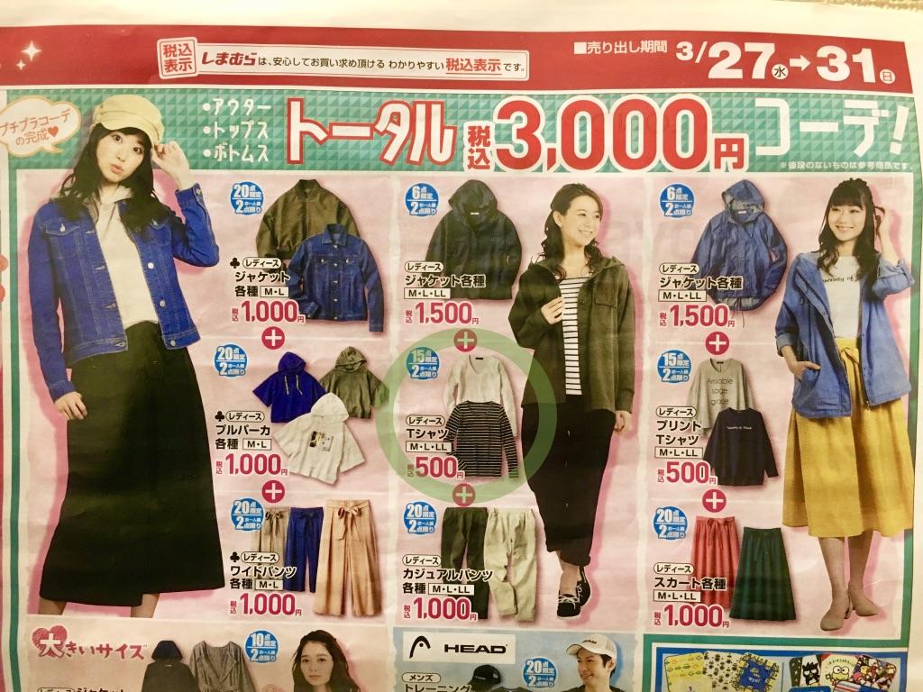 アウター・トップス・ボトムスのトータル3000円コーデ