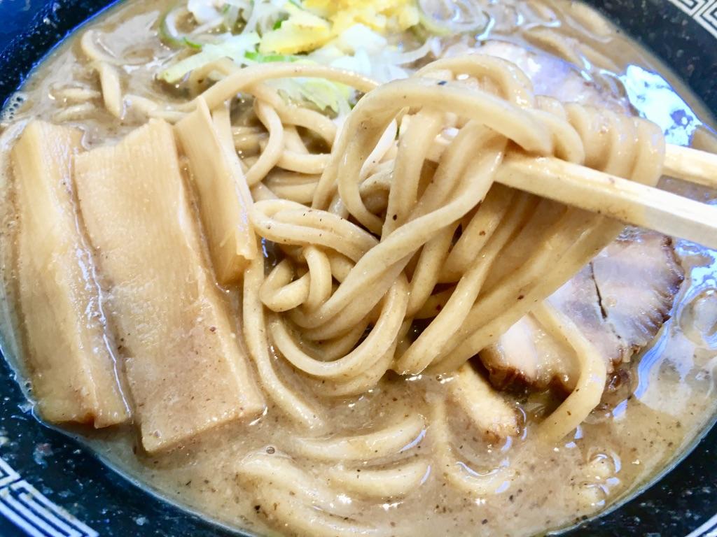 木更津アウトレット 松戸富田製麺 濃厚中華そば820円の箸上げ写真