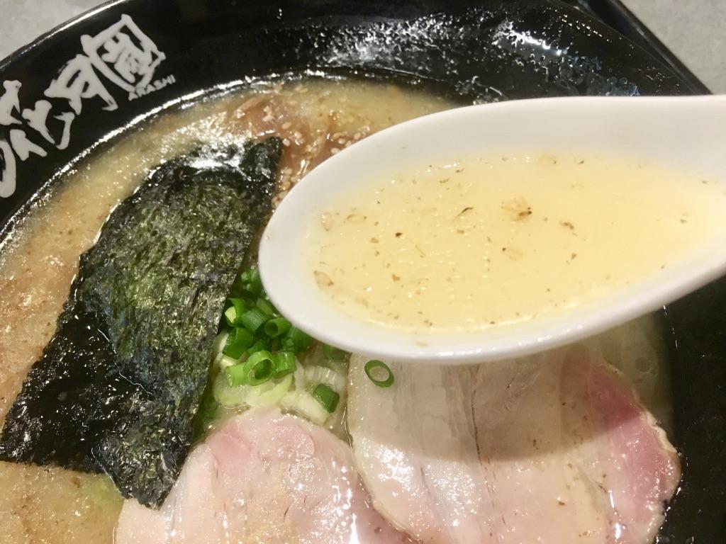 らあめん花月嵐コラボ信州鶏白湯気むずかし家のスープ写真