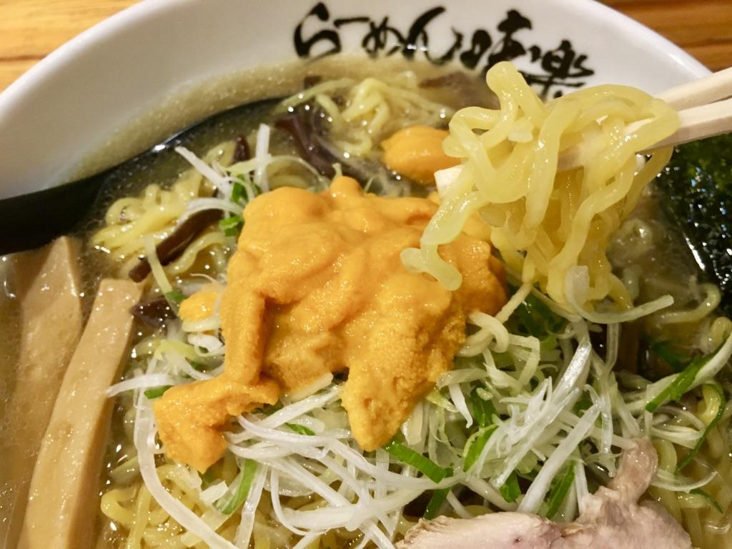 利尻ラーメン味楽のちぢれ麺箸上げ写真