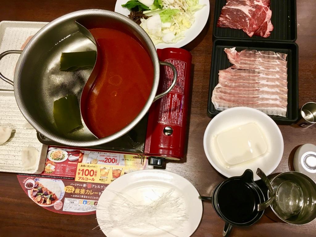バーミヤン火鍋しゃぶしゃぶ食べ放題の初期配置