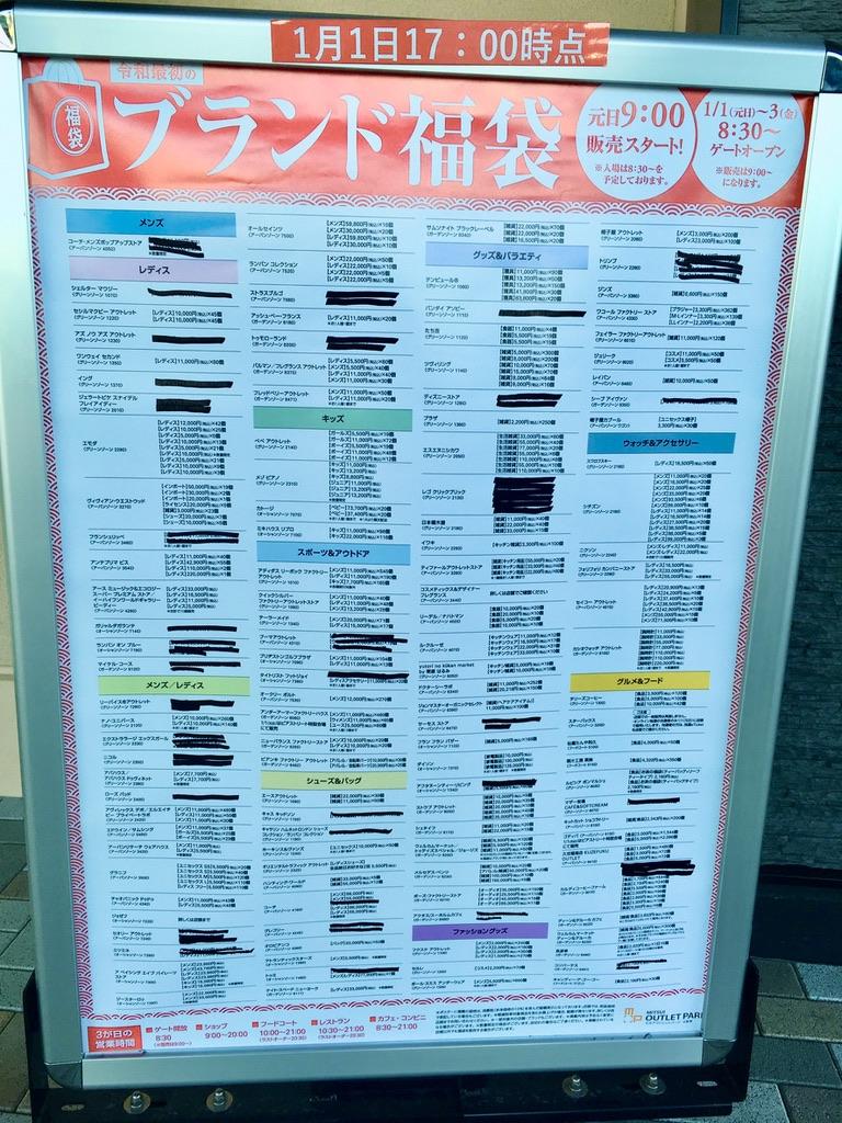 木更津アウトレット福袋販売状況(1月1日17:00時点)