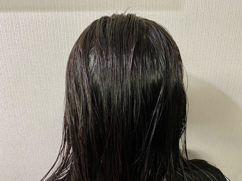 琴髪ヘアトリートメントをしてタオルドライした髪